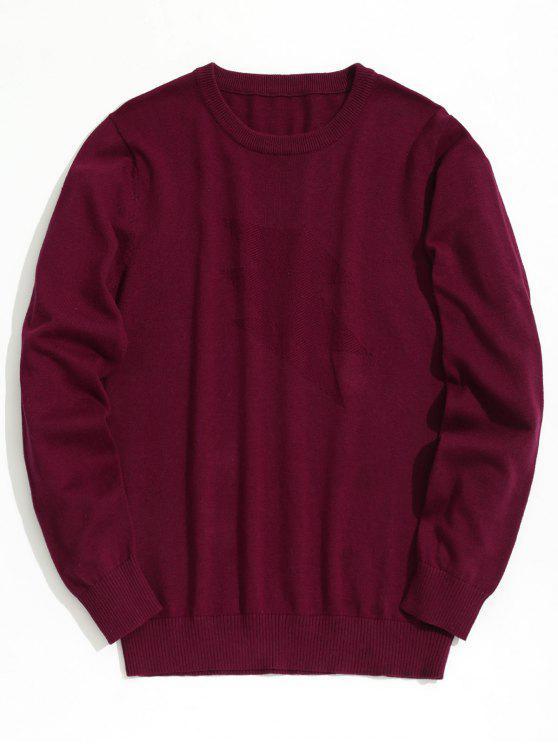 trendy Plain Crew Neck Knitwear - BURGUNDY 3XL
