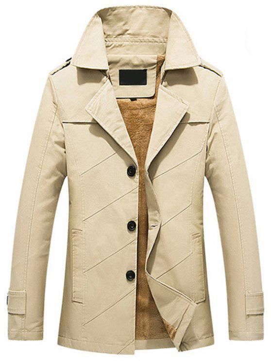 sale Button Up Fleece Mens Coat - LIGHT KHAKI 3XL