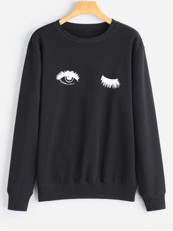 Sweat-shirt Tunique à Yeux Imprimé - Noir L