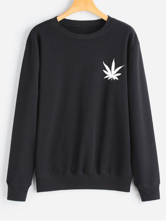 Blatt Druck Sweatshirt - Schwarz S