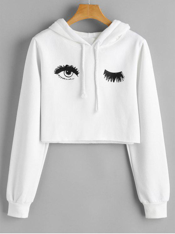 shops Eye Print Cropped Hoodie - WHITE S