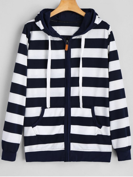 chic Drawstring Zip Up Stripe Hoodie - PURPLISH BLUE XL