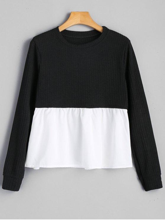Camisola do pescoço do painel - Preto L