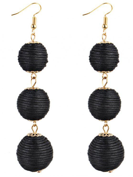 latest Pair of Bon Bon Style Dangle Earrings - BLACK
