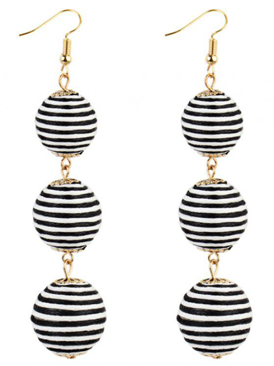 Paar Bon Bon Stil baumeln Ohrringe - schwarz weiß