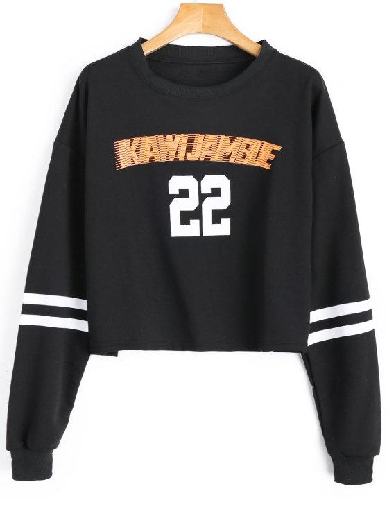 Gestreiftes Sweatshirt mit Grafik und Rundhalsausschnitt - Schwarz Eine Größe