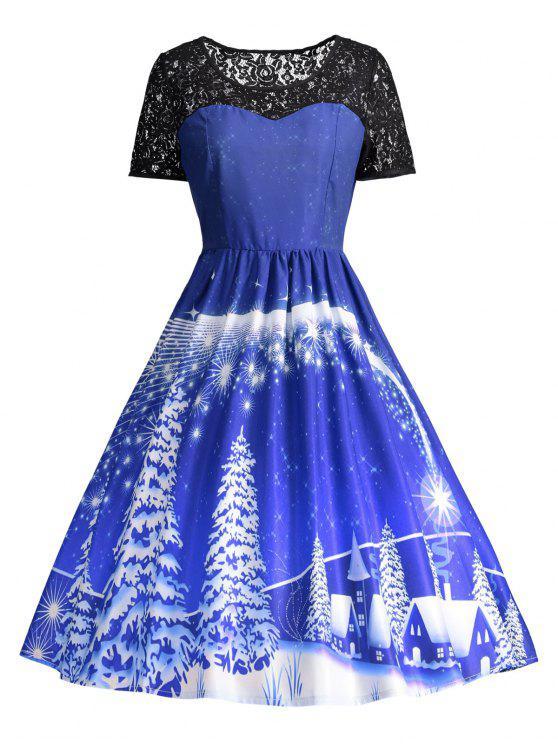 فستان الحفلة طباعة دانتيل - أزرق 2XL