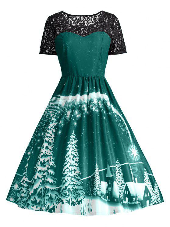 فستان الحفلة طباعة دانتيل - أخضر XL