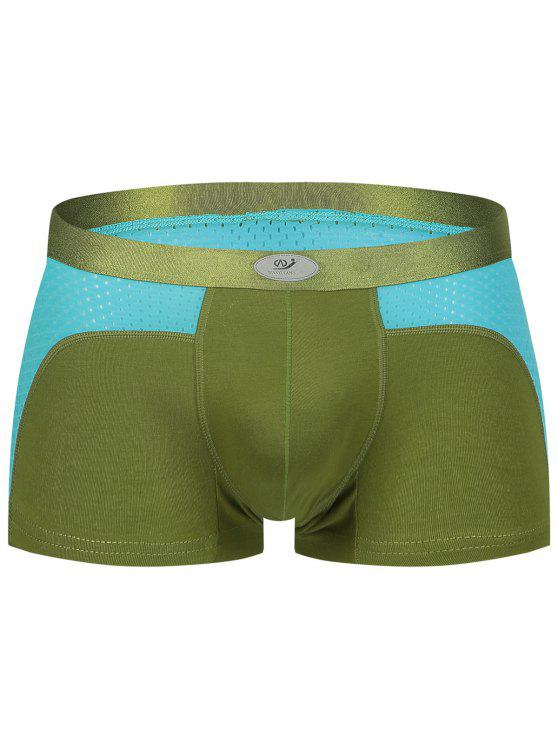 sale U Convex Pouch Color Block Openwork Panel Boxer Brief - BLACKISH GREEN S