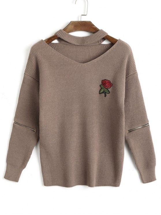 sale Zippered Sleeve Rose Embroidered Choker Sweater - DARK KHAKI ONE SIZE