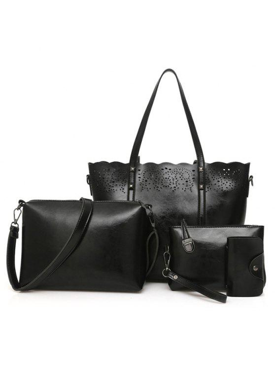 طقم حقيبة كتف من أربع قطع - أسود