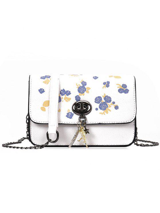 زهرة طباعة سلسلة حقيبة كروسبودي - أبيض