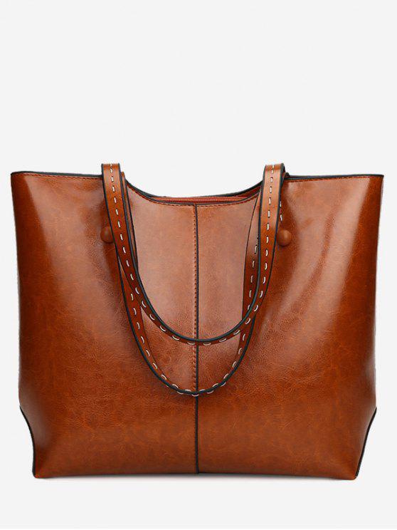 حقيبة كتف من الجلد المصنع - بنى