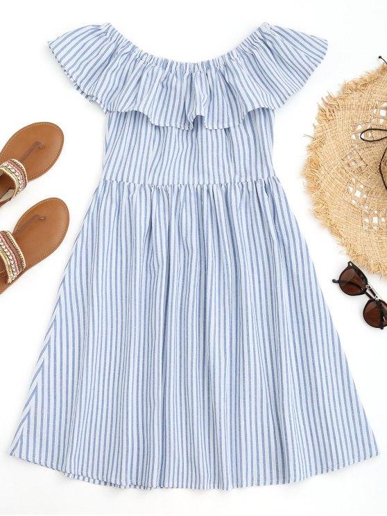 Vestido Listrado de Praia com Ombro Caído e Franzido - Azul e Branco M