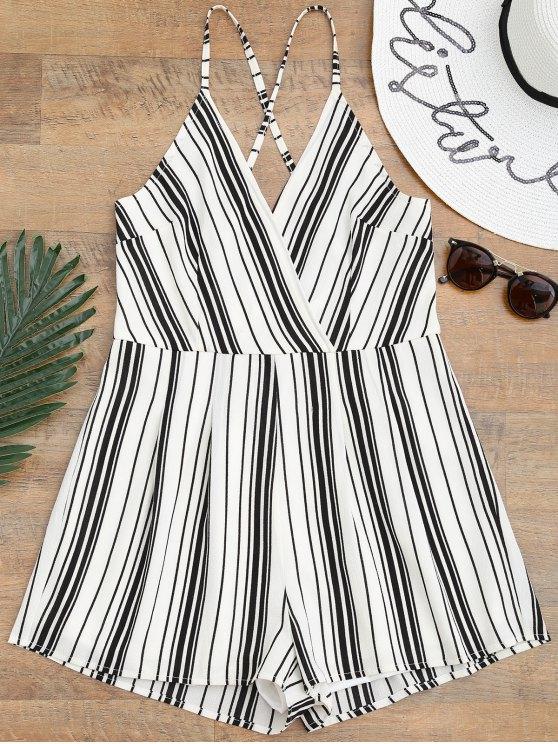 Cami Surplice Striped Beach Romper - Blanc et Noir L