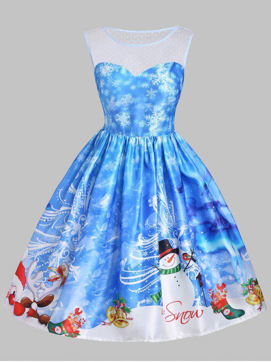 womens Christmas Snowman Snowflake Mesh Panel Dress - BLUE S