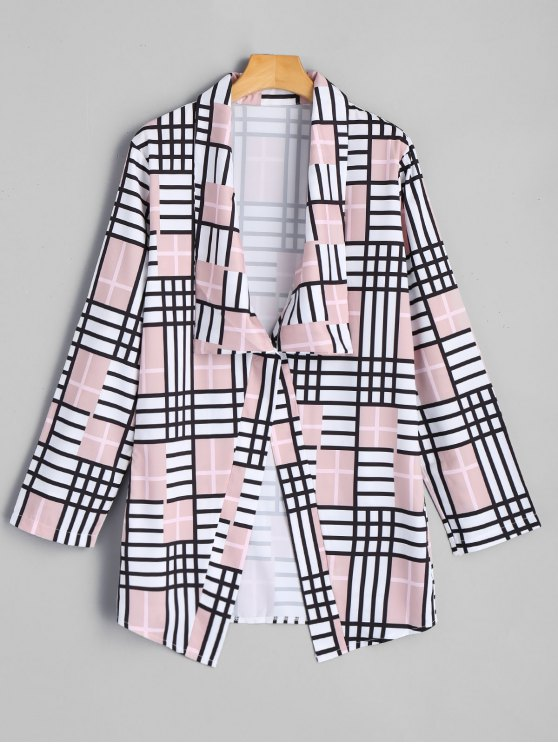 trendy Elbow Patch Checked Blazer - COLORMIX S