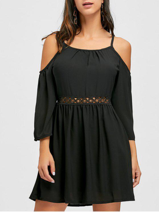 فستان حزام السباغيتي مفتوحة الكتف - أسود L