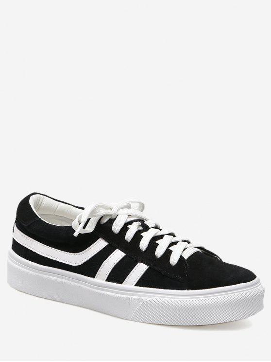 affordable Color Block Striped Skate Shoes - BLACK 35