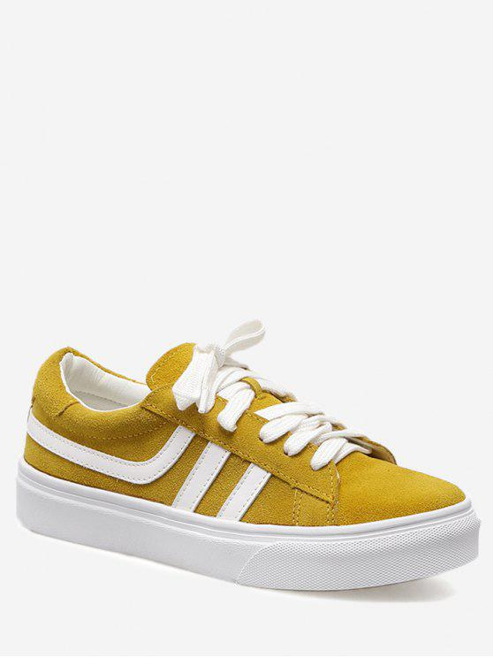 chic Color Block Striped Skate Shoes - YELLOW 36