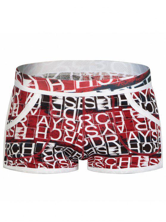 Slip Taille Elastique à Imprimé Graphique et Poche Convexe en U - Multicolore XL