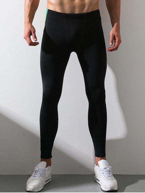 Painel de blocos de cores Calças elásticas de cintura esticada - Preto 2XL