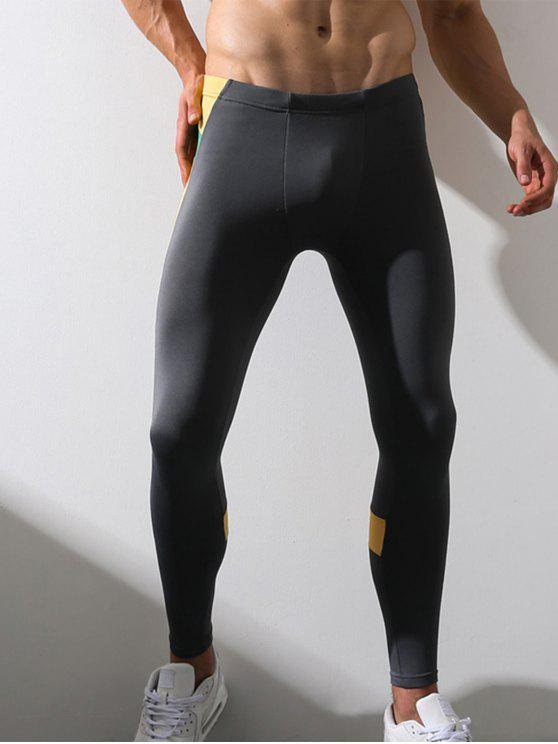 Pantalon de Gymnastique Extensible en Molleton Elastique à Taille - gris L