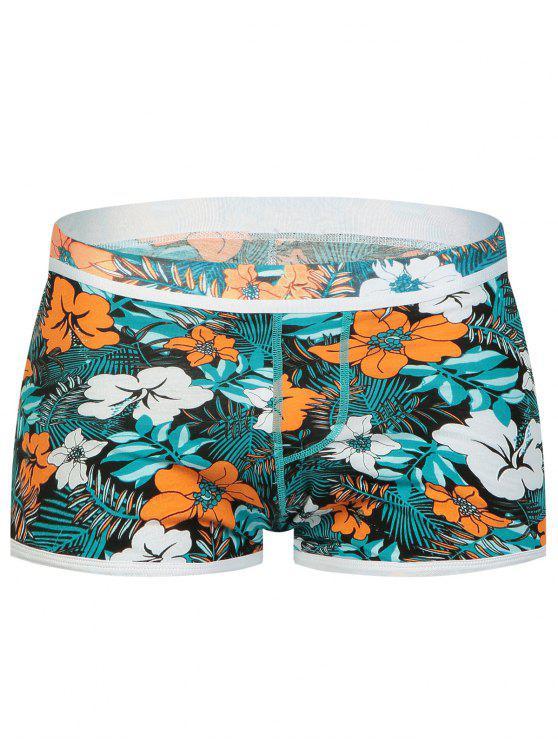 Slip Boxeur Taille Elastique à Imprimé Floral et Poche Convexe en U - Multicolore M