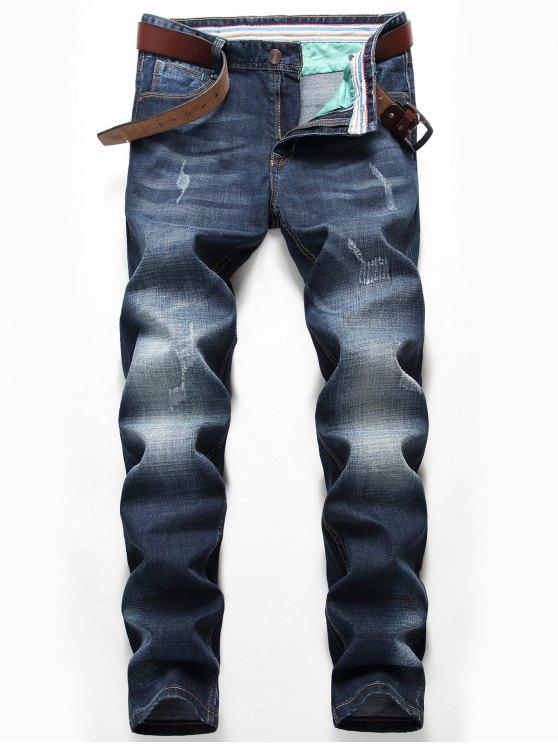 Zip-Fly Straight Leg Verblasste Whisker-Jeans - Denim Blau 38