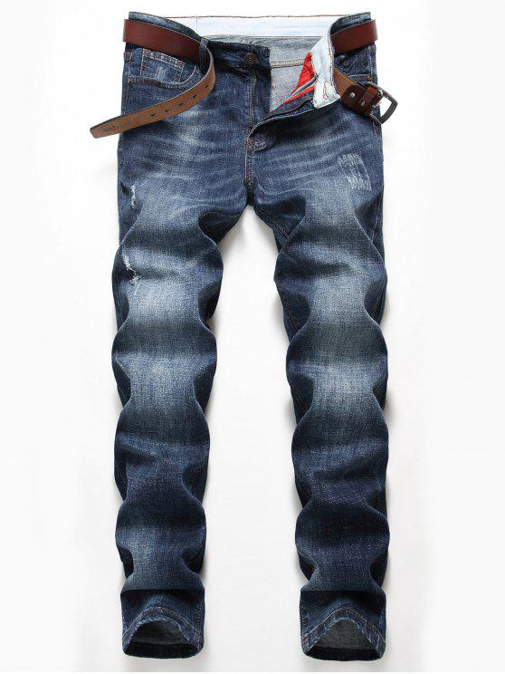 fashion Straight Leg Distressed Faded Jeans - DENIM BLUE 40