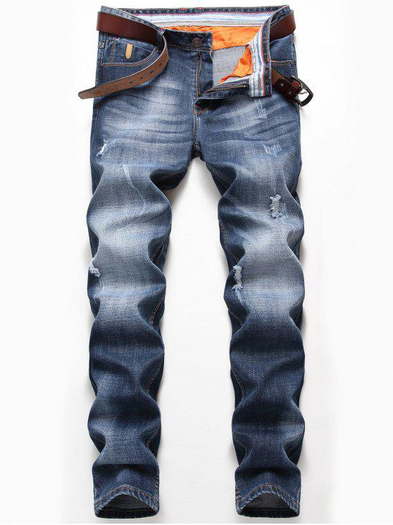 Faded Zip Fly Straight Distressed Jeans - Denim Blue 40