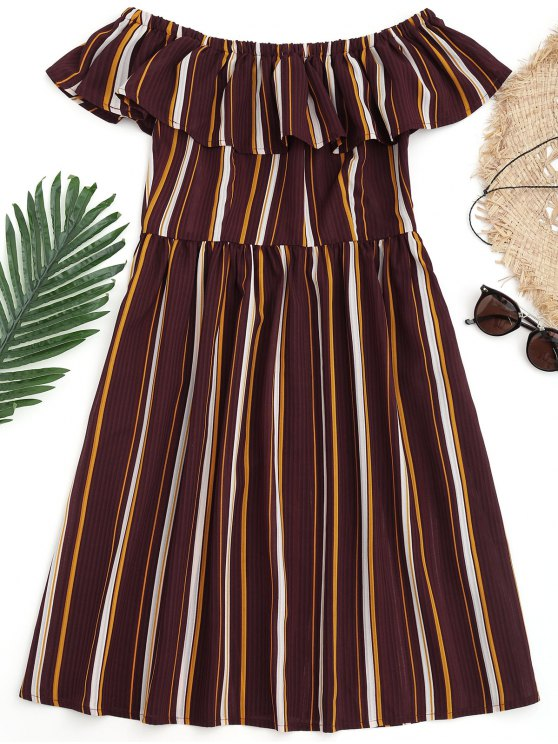 fancy Striped Off Shoulder Ruffle Beach Dress - BURGUNDY S