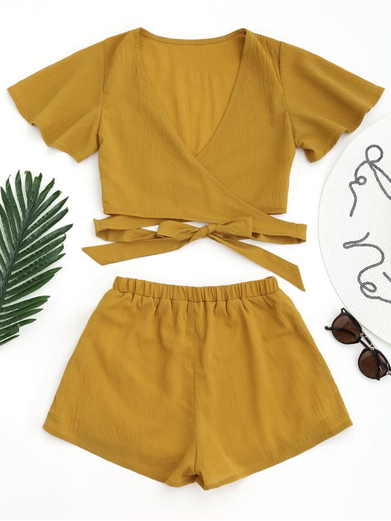 outfits Cropped Wrap Top with Shorts - GINGER M