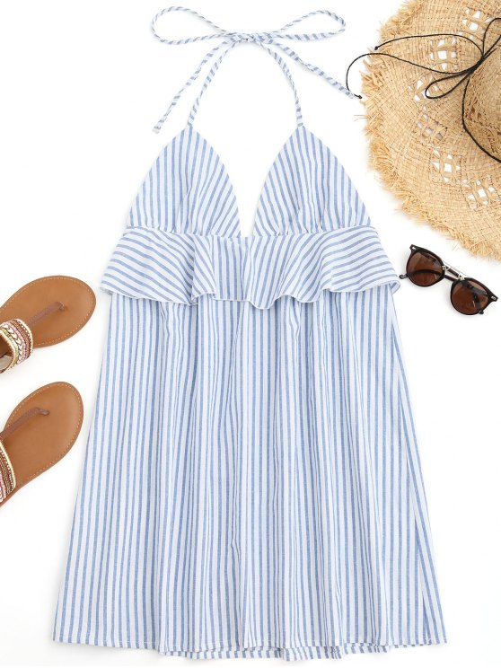 lady Halter Striped Ruffles Beach Dress - BLUE AND WHITE M