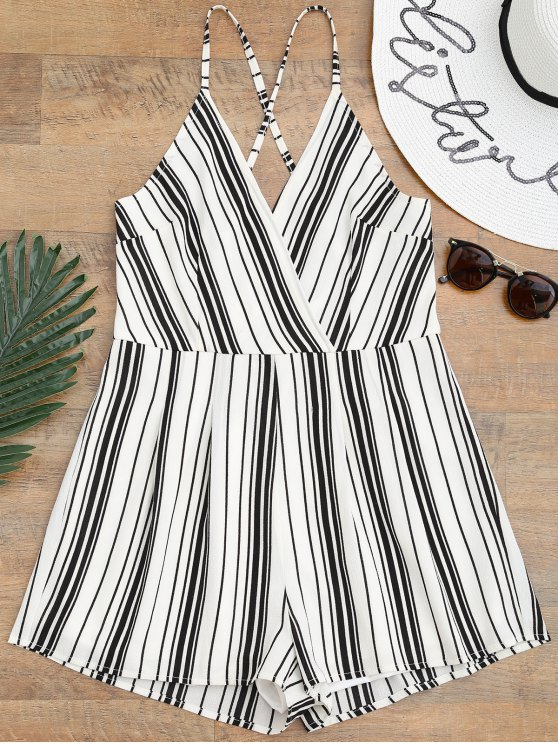 affordable Cami Surplice Striped Beach Romper - WHITE AND BLACK S