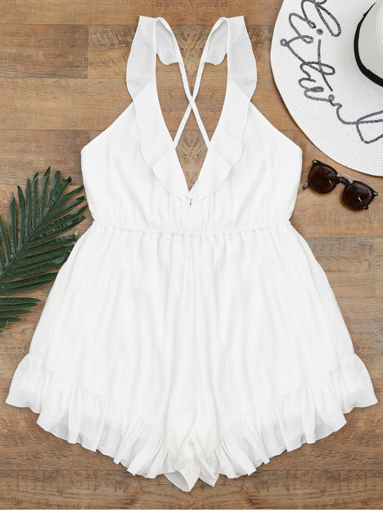 lady Cross Back Ruffles Beach Romper - WHITE S