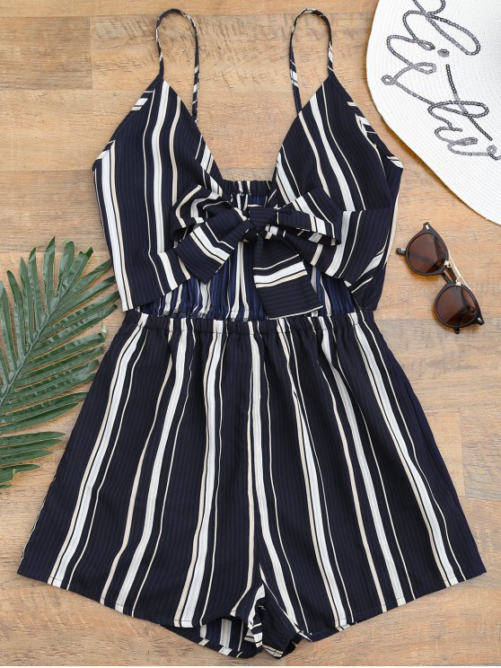women Tied Cami Striped Beach Romper - DEEP BLUE S