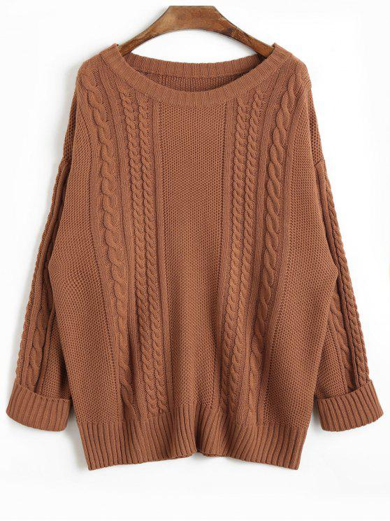 latest Drop Shoulder Plain Cable Knit Sweater - COFFEE ONE SIZE
