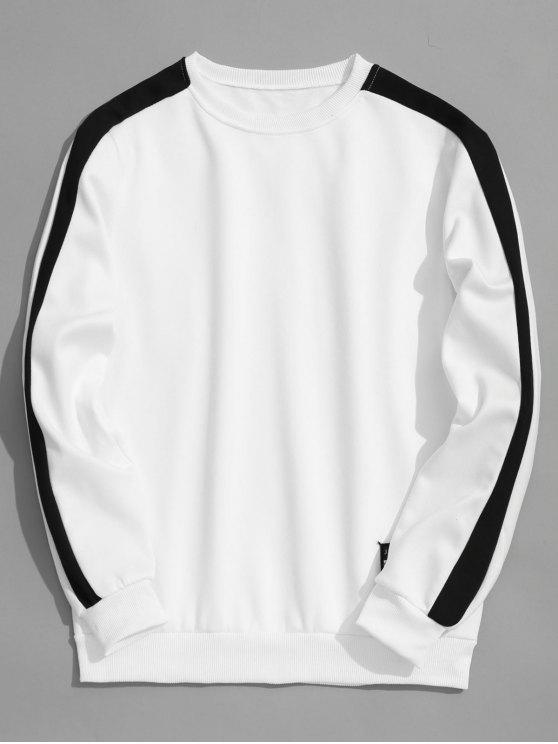 unique Fleeced Two Tone Sweatshirt - WHITE L