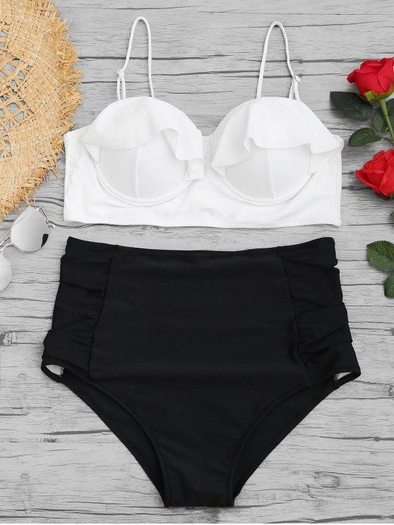 trendy High Waisted Underwire Plus Size Bikini Set - WHITE XL