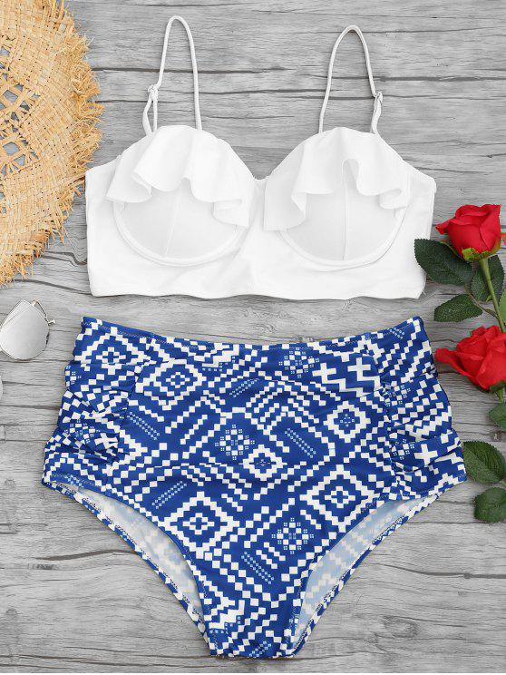affordable Geometrical Print Underwire Plus Size Bikini Set - BLUE AND WHITE 2XL
