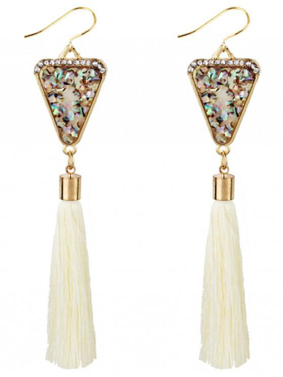 Triângulo De Forma De Cristal Embellished Fringed Drop Earrings - Branco