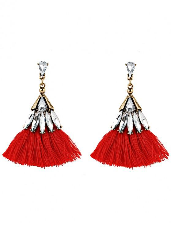 Crystal Embellished Fan Shaped Fringed Drop Earrings - Vermelho