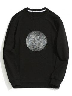 Crew Neck Printed Sweatshirt - Black Xl