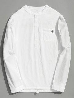 Half Button Letter Shirt - White 2xl