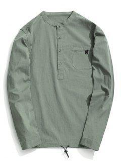 Half Button Letter Shirt - Light Green 3xl