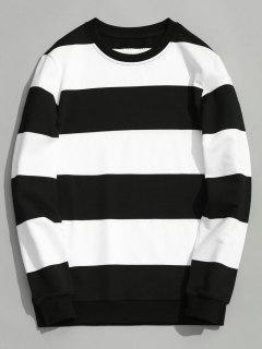 Color Block Crew Neck Knitwear - White And Black Xl
