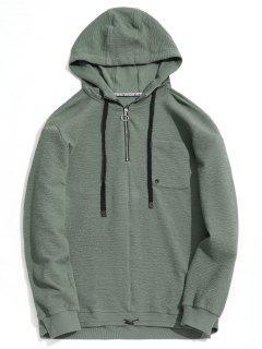 Pocket Half Zipper Pullover Kapuzenpullover - Seladongrün Xl