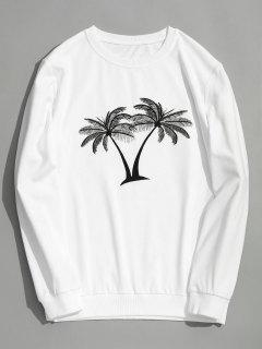Coconut Palm Embroidered Sweatshirt - White 3xl