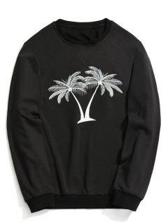 Coconut Palm Embroidered Sweatshirt - Black Xl